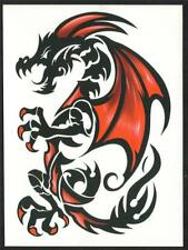 DRAGON RED AND BLACK  EXTRA LARGE SIZE Temporary Tattoo see size in listing
