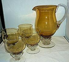 UNUSUAL VINTAGE RETRO BROWN AMBER GLASS WATER JUG PITCHER GLASSES GOBLET SET