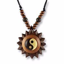 Halskette Anhänger Holz Amulett 5cm Ying Yang Design N291