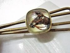 VINTAGE MIDCENTURY TIE CLIP WITH HORSE UNDER LUCITE BUBBLE PAINTED MEN'S JEWELRY