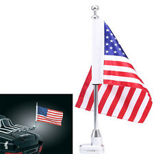 Motorcycle Rear US Flag Pole Luggage Rack Mount USA American For Harley Softail