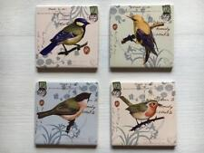 NEW Vintage Style BIRDS Ceramic Tile Coasters Set of 4, Country Shabby Chic Gift