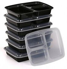 Estilo 3 Compartment Microwave Safe Bento Food Container with Lid 6pack, New