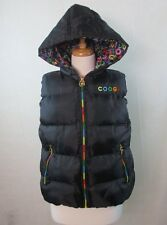 COOGIE LARGE L WOMENS PUFFER VEST HOODIE JACKET RAINBOW ZIP UP LINED FREE SHIP