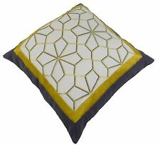 MOSAIC EMBROIDERED GOLD GREY FAUX SILK PILLOW LINEN VELVET CUSHION COVER 20""
