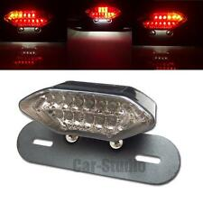 1x Motorcycle Smoked Lens LED Tail Turn Signal Light with License Plate Bracket