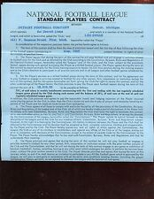 1963 NFL Football Detroit Lions Signed Player Contract Leo Sugar