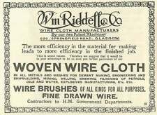 1926 William Riddell Woven Wire Cloth Springfield Road Glasgow Old Advert