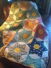 Patchwork Quilt Hand Stitched Cotton 68x84