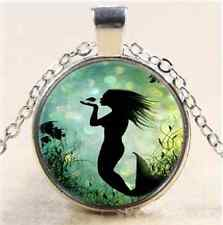 Marine Mermaid Photo Cabochon Glass Tibet Silver Chain Pendant Necklace#6220