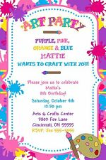 Paint Art Craft Birthday Party Invitation - Any Colors