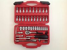 "46PC 1/4"" DRIVE METRIC SOCKET SET RATCHET HANDLE EXTENSION MECHANIC DIY TOOL KIT"