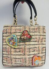 Christian LaCroix Multi Tweed Black Leather Heart Tote Bag France