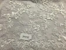 White Corded Flowers Embroider With Sequins On A Mesh Lace Fabric- Yard-