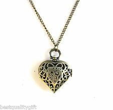 "TYLER CODY DESIGNS BRASS GOLD TONE HEART LOCKET+WORKING CLOCK 32"" LONG NECKLACE"