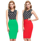 VINTAGE Women 1950s 60s Polka Dots Wiggle Pencil Evening Prom Dress