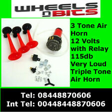 12v Triple Tone Alternating 3 Trumpet RED Air Horn Kit Horns For Car Boat Van