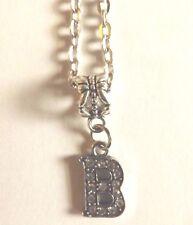 collier chaine argenté 46 cm avec pendentif lettre strass B