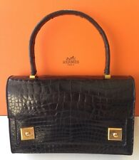 HERMES BLACK TOP CROCODILE PIANO DRESS BAG HANDBAG RARE BEAUTIFUL