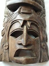 VTG Hand Carved Wooden Tribal Warrior Mask Primitive Animal Spirit Ceremonial