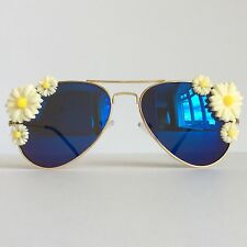 Marguerite Yellow - PinksAndMinks Embellished Sunglasses Pale Yellow Daisies