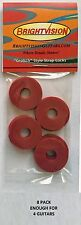 Eight RED Rubber Guitar Strap Locks - Grolsch Style - Classic and Reliable