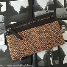 Coach Men's Bleecker Woven Keycase Envelope Pouch Bag Grey Orange 64473 NWT $198