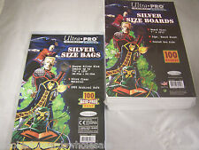 """1 Pack 100 Ultra Pro 7 1/8"""" Silver Age Comic Book Storage Bags & Backer Boards"""