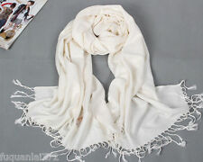 Men's Women's 100% Cashmere Soft white Solid Long Scarf Shawl