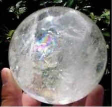 NATURAL RAINBOW CLEAR QUARTZ CRYSTAL SPHERE BALL HEALING GEMSTONE35 -40MM +STAND