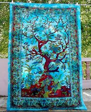Indian Decor Tapestry Turquoise Tree Of Life Twin Wall Hanging Throws Bedspread
