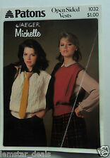 Paton and Baldwin Open Sided Vests women's knitting pattern - 1984