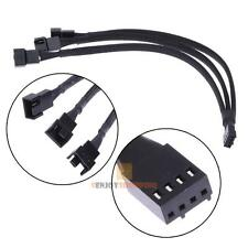 4 pin1 to 3 Ways PWM Fan Power supply Extension Cable Y Splitter Sleeved Black