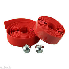 Cycling Handle Belt Bike Bicycle Cork Handlebar Tape Wrap +2 Bar Plug RED