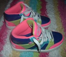 OSIRIS Convoy Mid Womens Size 7 Neon Green Pink Aqua Dark Blue Gently Used