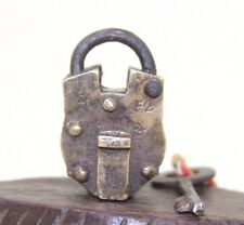 1900s Antique Beautiful Shape Handmade GAMA Marked ALIGARH BRASS PAD LOCK #174
