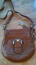 """NWOT B. Makowsky designer shoulder/crossbody bag maple glove leather 10"""""""