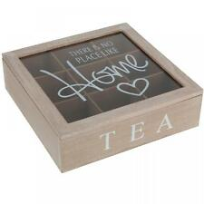 Love Heart Home Quotes Wooden Storage Box Tea Bag Chest With Lid 9 Compartment