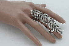 Women Silver Metal Ring Fashion Jewelry Elastic Band Long Finger Tree Plant Leaf
