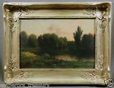 American Oil Painting Depicting Landscape with People Signed Illegibly