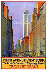 VINTAGE 5TH AVENUE NEW YORK TRAVEL A4 POSTER PRINT