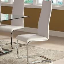 White Faux Leather Dining Chairs w/ Chrome Legs by Coaster 100515WHT - Set of 2