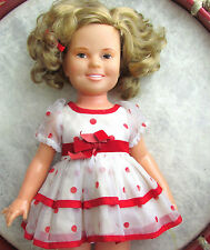 SHIRLEY TEMPLE DOLL VINTAGE 1972 IDEAL RED POLKA DOT DRESS STAND UP & CHEER, EUC