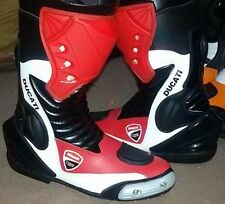 DUCATI Waterproof Leather Motorcycle Motorbike Race Boots BLACK,WHITE AND RED