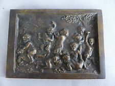 BELLE PLAQUE EN BRONZE EN RELIEF SIGNEE LAZZERI BACCHANALES CHERUBS PUTTI ANGES