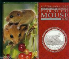 2008 $1 AUSTRALIA LUNAR MOUSE RAT 1 Oz PROOF SILVER COIN Box COA Mintage: 5000 !