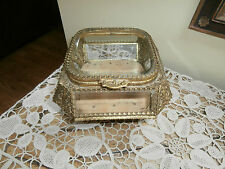 Vintage Beveled Glass Jewelry Casket: Trinket Box~ Display case
