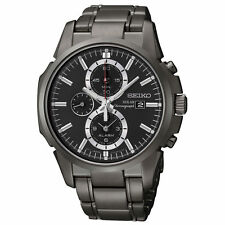 Seiko SSC095 Men's Solar Chrono Black Dial Black Steel Alarm Watch