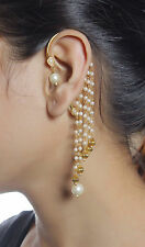 6372 Ethnic Indian Gorgeous Design Earrings White Pearl Gold Plated Jewellery