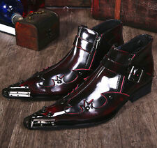 Mens Punk Rock Brogue Metal Pointed Toe Real Leather Cospaly Ankle Boots Shoes